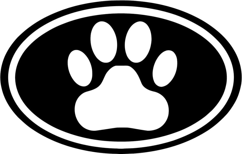 Dog Paw Oval - Vinyl Car Window and Laptop Decal Sticker