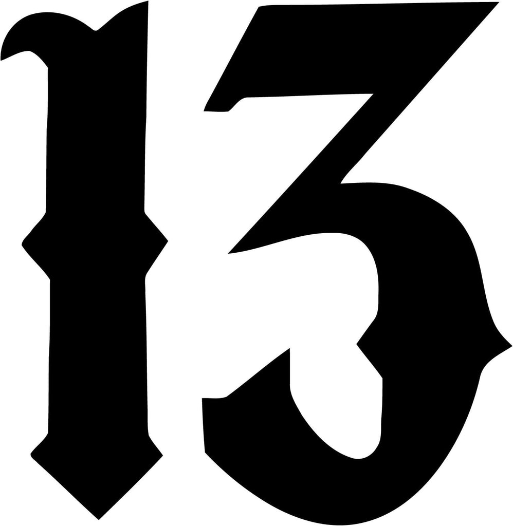 Number 13 Vinyl Car Window Laptop Decal Sticker