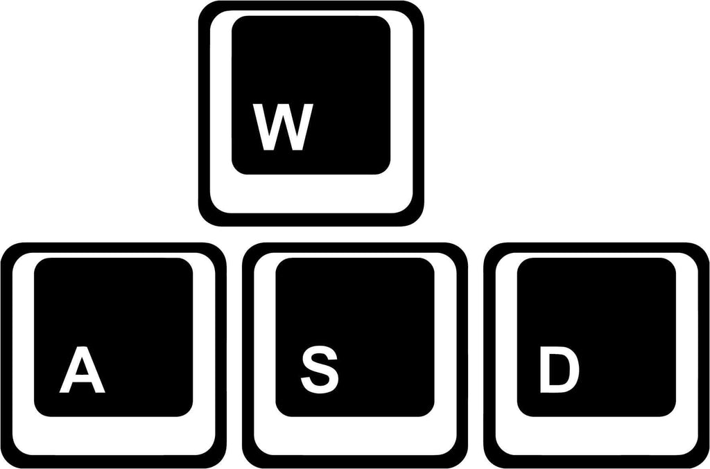 WASD or WADS keyboard Vinyl Car Window Laptop Decal Sticker