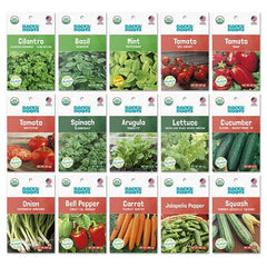 Organic Garden Essentials, 15 Pack (10,000+ seeds!), Seed Bundle