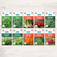 Organic Beginner's Garden, 10 Variety Pack - Seed Packet Bundle