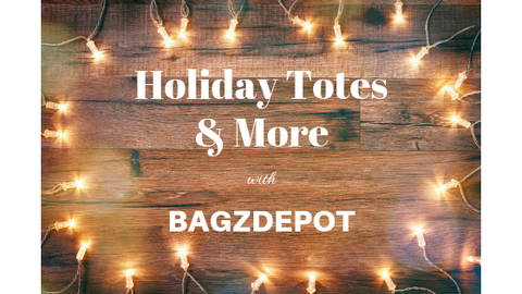 holiday totes & more with bagzdepot text on wood with white lights