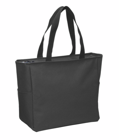 polyester canvas zippered tote bag