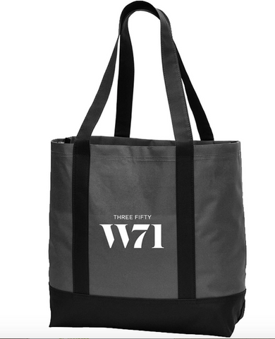 black tote bag with white screen print company logo