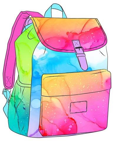 backpack illustration rainbow colors