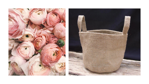 mothers day burlap bag flowers