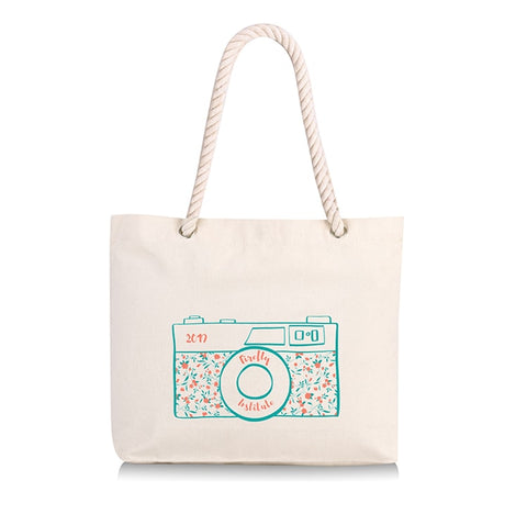 canvas tote bag with rope handles and printed camera design