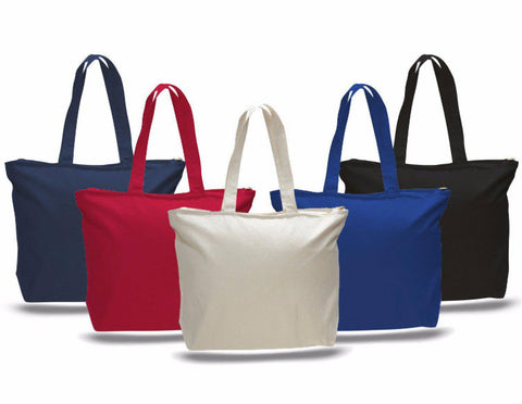 canvas tote bag with zippered closure