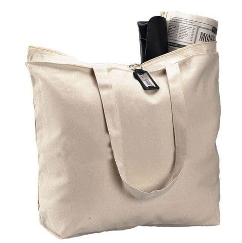 canvas tote bag with zippered top closure