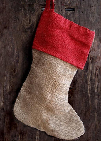 Burlap Christmas Stocking with Red Trim