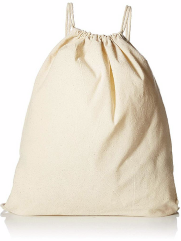 plain organic cotton drawstring bag