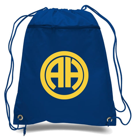 navy blue drawstring bag with custom printed yellow logo