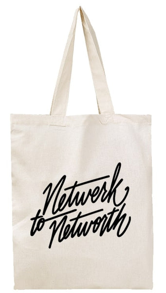 network to networth custom printed canvas tote bag