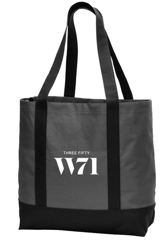 black tote bag with white logo