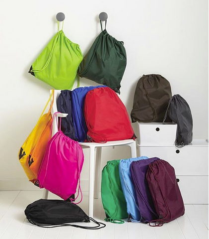 assorted drawstring bags multi colored