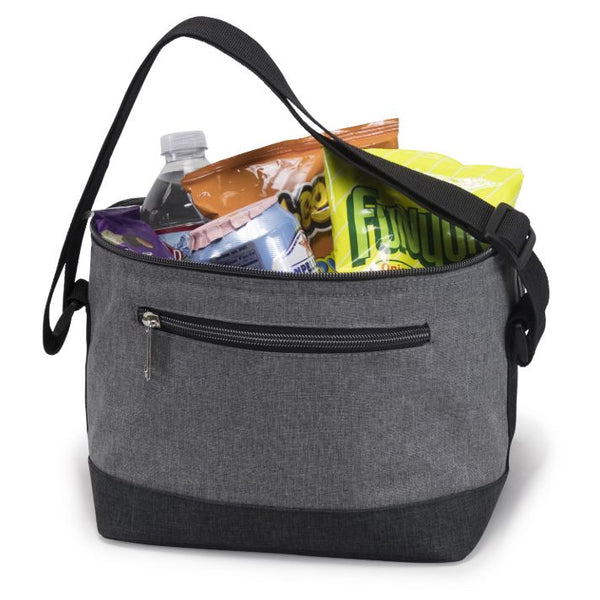 grey lunch bag with chips and water