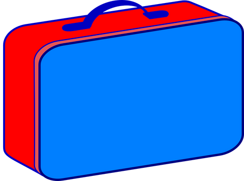 lunchbox food box vector graphic blue and red