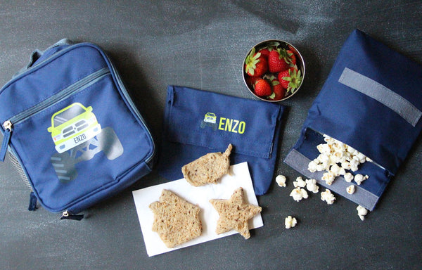 personalized cooler bag with strawberries, bread, popcorn