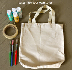 Decorating Cotton Canvas Plain Tote Bags in Bulk