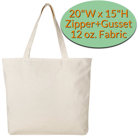 canvas tote bags with zipper
