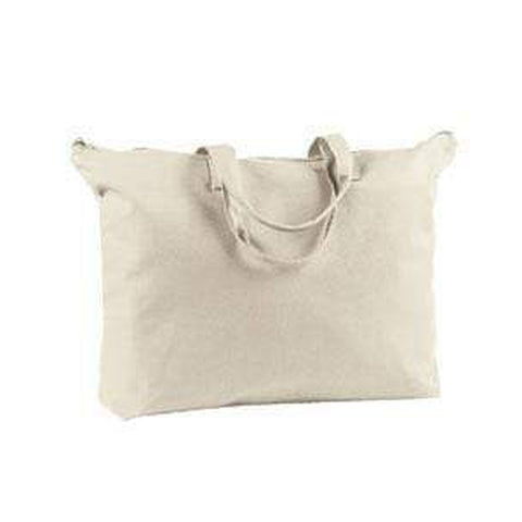 BAGedge 12 oz. Canvas Zippered Book Tote Bag - BE009 Bags