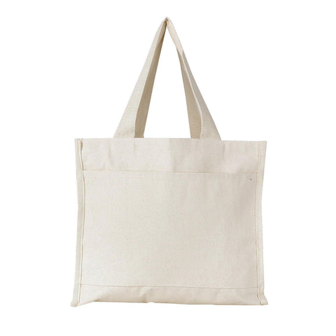 Medium Size Canvas Tote Bag with Front Pocket Clearance