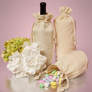 Natural Muslin Single Bottle Customizable Wine Bag with Drawstring Closure - WB2653 Drawstring Bags