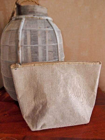 Large Jute Canvas Blend Cosmetic Makeup Bag Zippered Pouch | B692 Make Up / Travel Kit