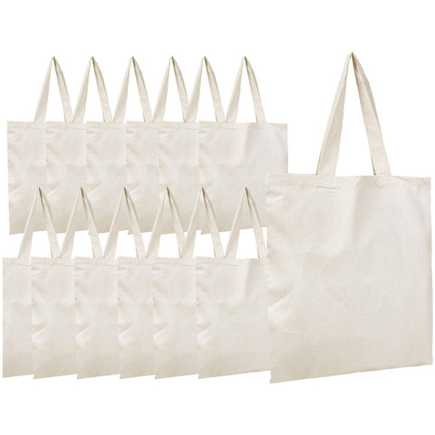 Cotton Canvas Tote Bags in Bulk - 12 Pack - 100% Cotton Tote Bags Wholesale Tote Bags