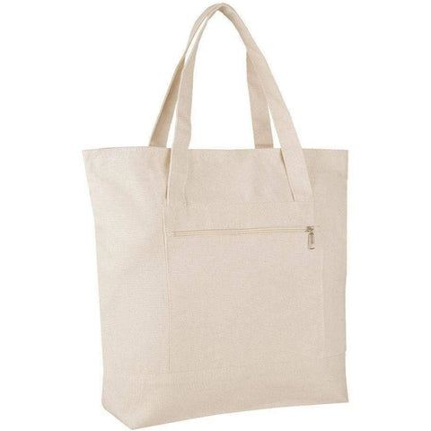 Zipper Canvas Tote Bags Wholesale with Front Pocket - BTG213 Tote Bags