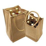 Jute Wine Bags Burlap Wine Totes with Removable Dividers - B752 Tote Bags