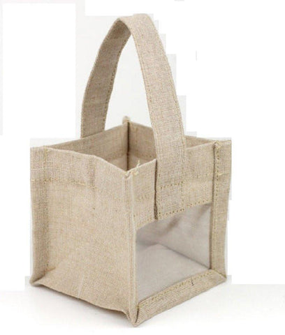 Cute Mini Jute Burlap Gift Bag Rustic Wedding Party Favor Bag - B905 Tote Bags
