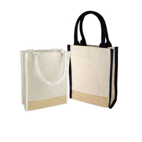 Small Size Jute Blend Cute Book Tote Bag with Full Gusset - B911 Tote Bags