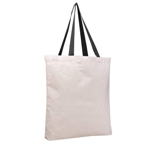 Reusable Canvas Tote Bags With Color Web Handles - Set of 12 Tote Bags
