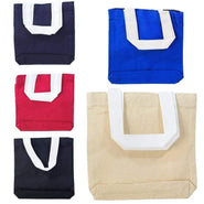 "8"" Cotton Canvas Mini Gift Tote Bags, Party Favor Bags - Set of 12 Tote Bags"