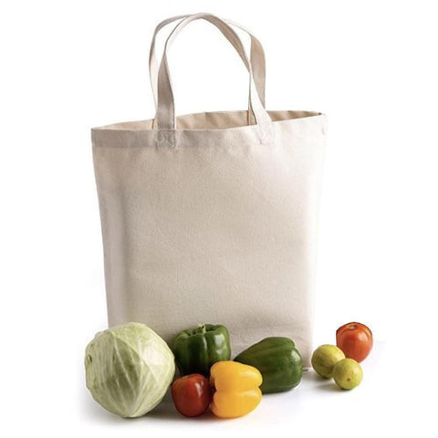 100% Cotton Natural Deluxe Tote Bag with Gusset - Set of 12 Tote Bags
