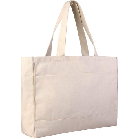 Blank Canvas Bags, Large Tote Bags with Inside Zippered Pockets - BTF214 Tote Bags