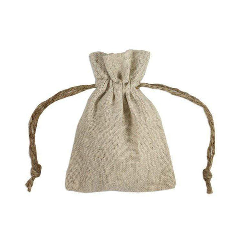Linen Party Favor Bags with Jute Drawstring Cord - 12 Pack - GB98