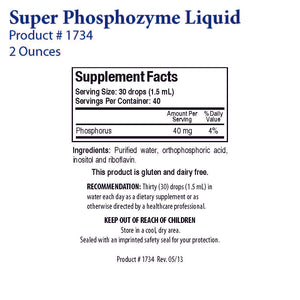 Super Phosphozyme Liquid by Biotics Research - Gluten Free
