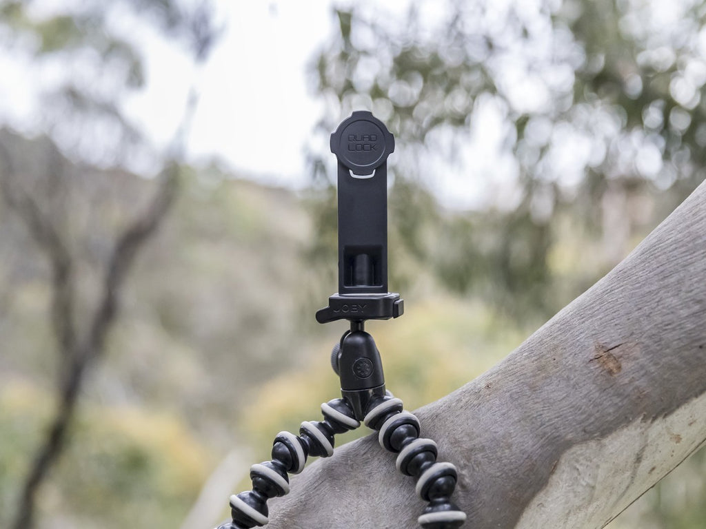 quad lock tripod adaptor with monkey grip tripod