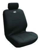 Simulated Leather Seat Covers Twin Front Low Back  2 Pcs-Black