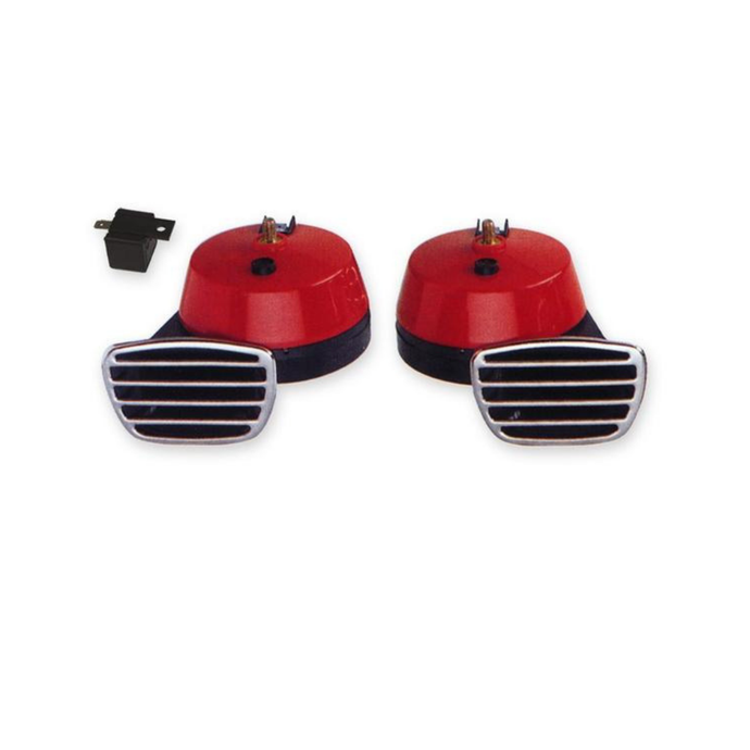 Horns 12 Volt Twin High / Low Tone Electromagnetic / Red HS 22.345