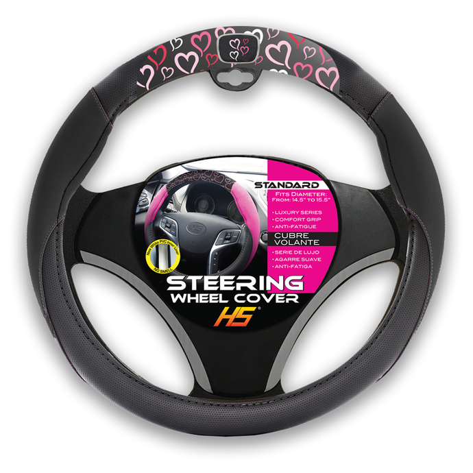 streeing wheel covers hearts with pink and white