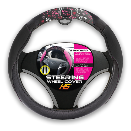 Steering Wheel Cover/ Butterflys and Comfort Grip -Black HS 35.612