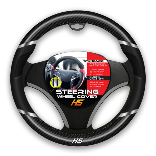 Steering Wheel Cover Black / Chrome Inserts / Carbon Fiber With Comfort Grip