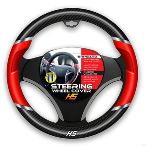 Steering Wheel Cover Red / Chrome Inserts / Carbon Fiber With Comfort Grip