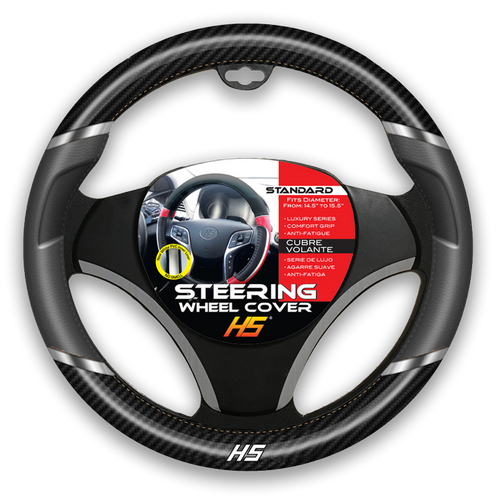Steering Wheel Cover Grey / Chrome Inserts / Carbon Fiber With Comfort Grip