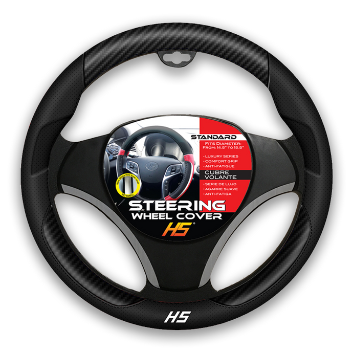 Steering Wheel Cover Black / Carbon Fiber With Comfort Grip