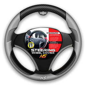 Steering Wheel Cover Grey / Carbon Fiber With Comfort Grip