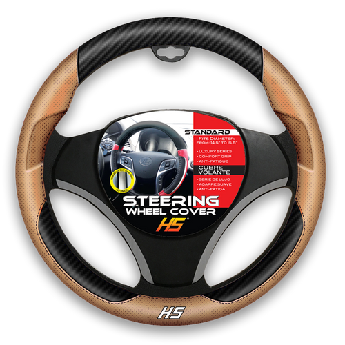 Steering Wheel Cover Tan / Carbon Fiber With Comfort Grip
